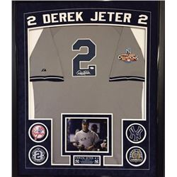 Derek Jeter Signed Yankees 36x42 Custom Framed Jersey With 2009 World Series Patch Display (Steiner