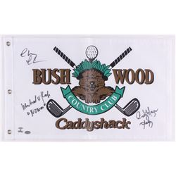 "Chevy Chase, Cindy Morgan  Michael O'Keefe Signed 12"" x 20"" Caddyshack Gopher Logo Bushwood Flag Ins"