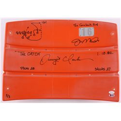"Joe Montana  Dwight Clark Signed LE Candlestick Park Orange #16 Seat Back with Hand-Drawn ""The Catch"