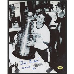 """Ted Lindsey Signed Red Wings 8x10 Photo and inscribed """"H.H.O.F. 66"""" (CAS COA)"""