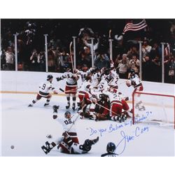 "Jim Craig Signed Team USA 16x20 Photo Inscribed ""Do You Believe In Miracles"" (Steiner COA)"
