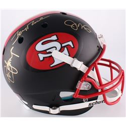 Steve Young, Jerry Rice  Joe Montana Signed 49ers Custom Matte Black Full-Size Authentic On-Field He