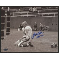 "Y. A. Tittle Signed Giants 8x10 Photo Inscribed ""HOF 71"" (Schwartz COA)"