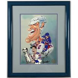 "Mark Messier Signed Rangers ""Toon Art"" LE 21x25 Custom Framed Animation Cel Display (Toon Art COA)"