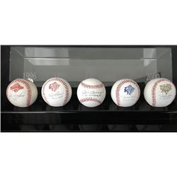 """Yankees World Series MVPs"" Set of (5) Baseballs Signed by Derek Jeter, Mariano Rivera, Joe Torre, S"