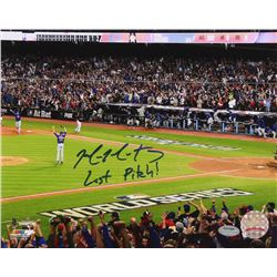"Mike Montgomery Signed Cubs 2016 World Series 8x10 Photo Inscribed ""Last Pitch!"" (Schwartz COA)"