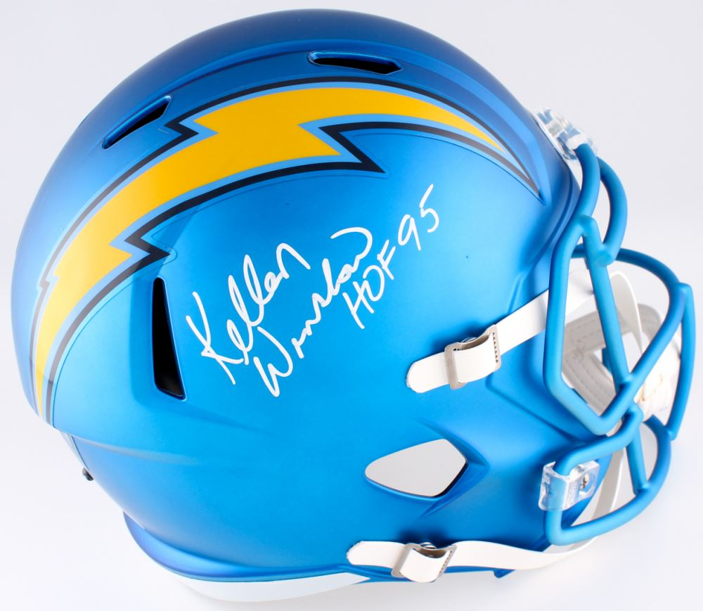Image 1 Kellen Winslow Signed Chargers Blaze Speed Full Size Helmet Inscribed HOF
