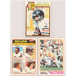 Lot of (3) Walter Payton Cards with 1979 Topps #480 AP, 1981 Topps #264 Chicago Bears TL, 1982 Topps