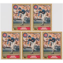 Lot of (5) 1987 Topps Traded #70T Greg Maddux XRC