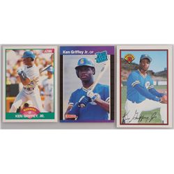 Lot of (3) Ken Griffey Jr. Cards with 1989 Donruss #33 RR RC, 1989 Bowman #220 RC, 1989 Score Rookie