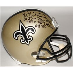 Willie Roaf Signed Saints Full-Size Helmet with (4) Career Stat Inscriptions (Radtke COA)