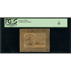 1778 Continental Currency $5 Five-Dollar Colonial Currency Note - September 26th, 1778 (PCGS 62)