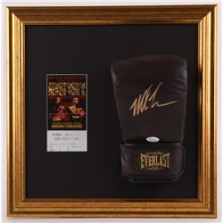 Mike Tyson Signed 16.75x16.75 Custom Framed Everlast Glove Display With Ticket (JSA COA)