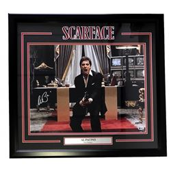 """Al Pacino Signed Scarface """"Say Hello To My Little Friend"""" 22"""" x 27"""" Custom Framed Photo Display (Bec"""
