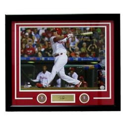"""Rhys Hoskins Phillies 22"""" x 27"""" Custom Framed Photo with Laser Engraved Signature"""