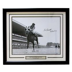 "Ron Turcotte Signed 1973 Belmont Stakes 22x27 Custom Framed Photo Display Inscribed ""Belmont '73"" (B"