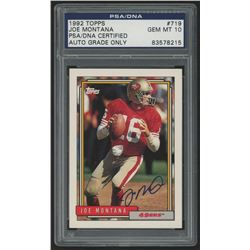 Joe Montana Signed 1992 Topps #719 (PSA Encapsulated)
