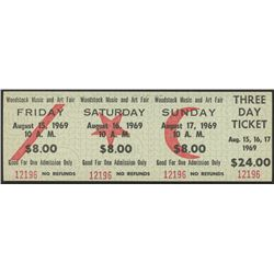 Woodstock Authentic Three Day Unused Ticket from August 15, 16, 17 1969