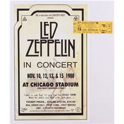 Lot of (2) Led Zeppelin Concert Items with (1) Concert Ticket  (1) 11x17 Concert Poster Print (Chica