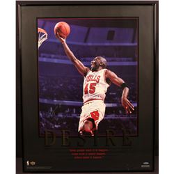 "Michael Jordan Signed LE Bulls ""Desire"" 24x30 Custom Framed Posted Display (UDA Hologram)"