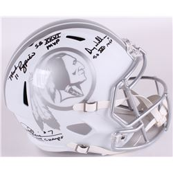 Mark Rypien, Joe Theismann  Doug Williams Signed Redskins Full-Size White ICE Speed Helmet With (3)