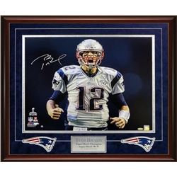 "Tom Brady Signed Patriots Super Bowl 49 ""Scream"" 26x30 Custom Framed Metallic Photo Display (Tristar"
