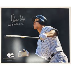 "Aaron Judge Signed Yankees 16x20 Limited Edition Photo Inscribed ""MLB Rookie HR Rec 52"" (Fanatics  M"