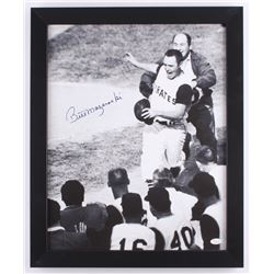 Bill Mazeroski Signed Pirates 18.5x22.5 Custom Framed Canvas Display (JSA COA)