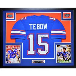 "Tim Tebow Signed Florida 35"" x 43"" Custom Framed Jersey (Palm Beach COA)"