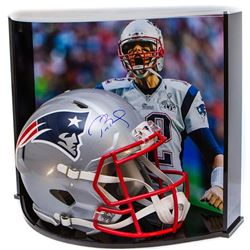 Tom Brady Signed Patriots Full-Size Authentic Proline Revolution Helmet with Custom Curve Display Ca