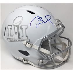 "Tom Brady Signed LE ""Super Bowl LI"" Custom Matte White ICE Full-Size Speed Helmet (TriStar  Steiner"