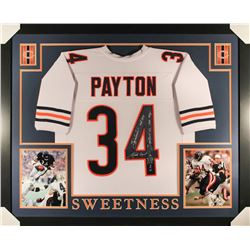 "Walter Payton Signed Bears 35x43 Custom Framed Jersey Inscribed ""Sweetness"", ""MVP 1977"", ""HOF 1993"","