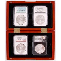 Anniversary Set of (4) American Silver Eagle $1 One Dollar Coins with 1986, 2006-W , 2011,  2016 wit