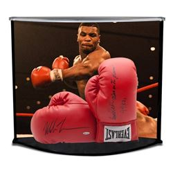 "Mike Tyson Signed 16x19x12 Boxing Gloves Curve Display Inscribed ""Baddest Man On The Planet""  ""44 KO"