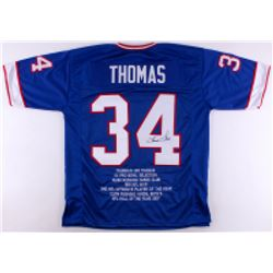 Thurman Thomas Signed Bills Career Highlight Stat Jersey (JSA COA)
