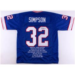 OJ Simpson Signed Bills Career Highlight Stat Jersey (JSA COA)