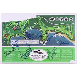 Pebble Beach Golf Course Map Signed by (8) Including Donald Trump, Glen Campbell, Tom Glavine (JSA L