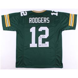 """Aaron Rodgers Signed Packers Jersey Inscribed """"Fastest QB to 300 TDs"""" (Steiner Hologram)"""
