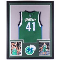 Dirk Nowitzki Signed Mavericks 34x42 Custom Framed Jersey (JSA COA)