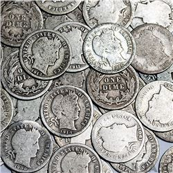 Lot of (50) Barber Dimes (Unsearched)