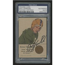 Paul Hornung Signed Gypsy Oak 1957 Wheat Penny Football Card (PSA Authentic)