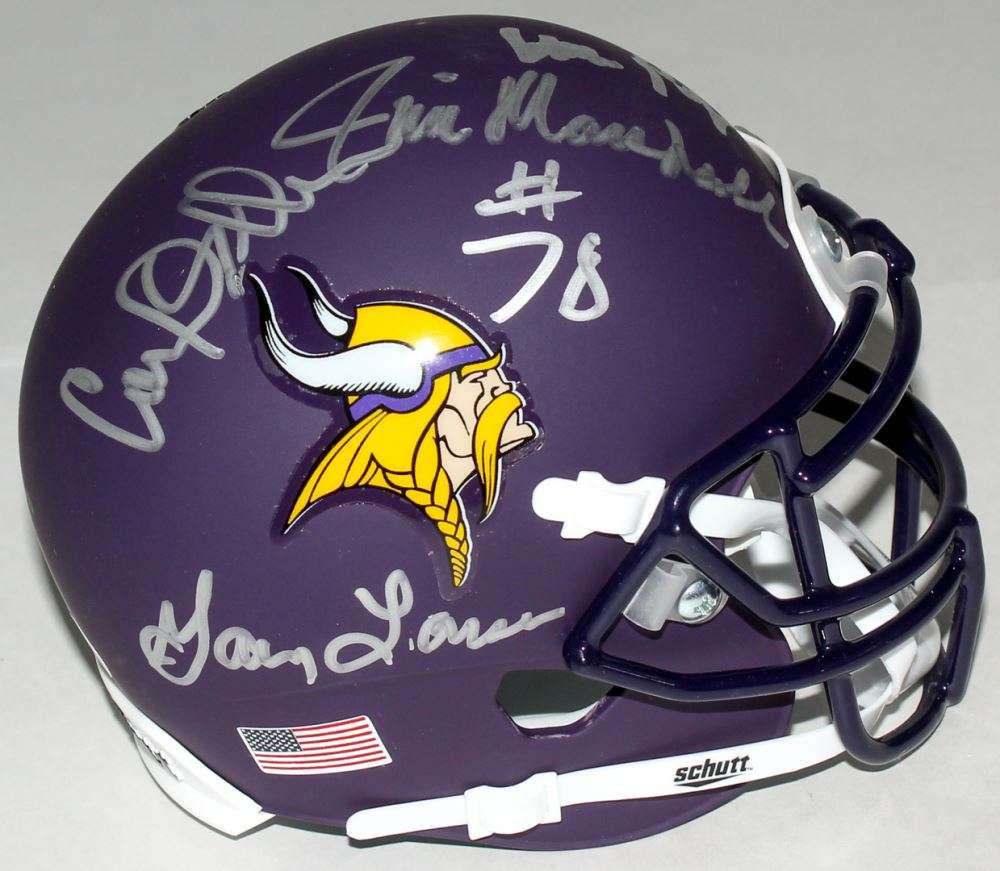 Vikings Purple People Eaters Custom Matte Mini Helmet Signed By 4 With Alan Page Carl Eller Ji
