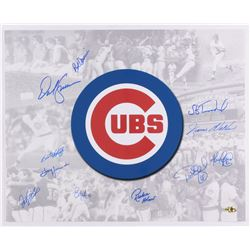 Cubs 16x20 Photo Signed by (11) with Jody Davis, Bill Madlock, Dwight Smith, Bob Deriner, Jerome Wal