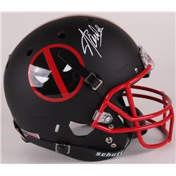 "Stan Lee Signed Custom Matte Black ""Deadpool"" Full-Size Helmet (Lee Hologram)"