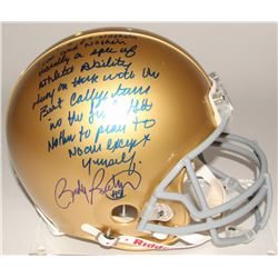 "Rudy Ruettiger Signed Notre Dame Fighting Irish Full-Size Authentic On-Field Helmet with ""Five Foot"