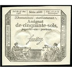1793 50 Sols Assignat French Revolution Currency Note - Series 2688 (Crisp, AU Condition)