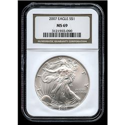 2007 American Silver Eagle $1 One-Dollar Coin (NGC MS 69)