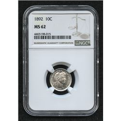 1892 Barber Silver Dime (NGC MS 62)