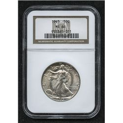 1945 Walking Liberty Silver Half-Dollar (NGC MS 66)
