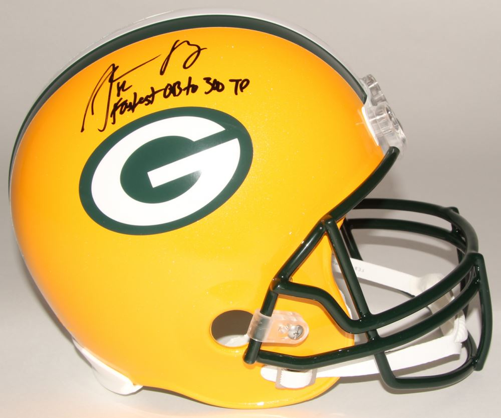 d60aff884 Image 1   Aaron Rodgers Signed Packers Full-Size Helmet Inscribed